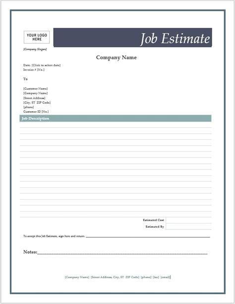 Free Job Estimate Forms Microsoft Word Templates Estimate Template