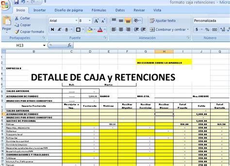 formatos de arqueo caja chica en excel formato caja con retenciones bolivia impuestos