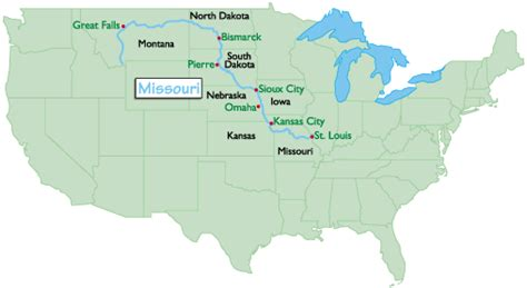 map of usa missouri river the missouri river map travelsfinders