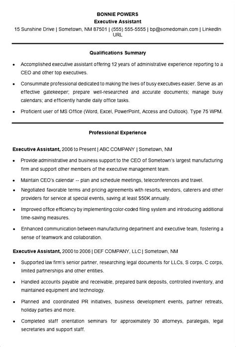 executive resume format template sle resume template for an executive assistant free