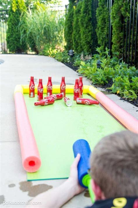 Backyard Using Pool Noodles Diy Coke 174 Bottle Outdoor Bowling Summer Backyards