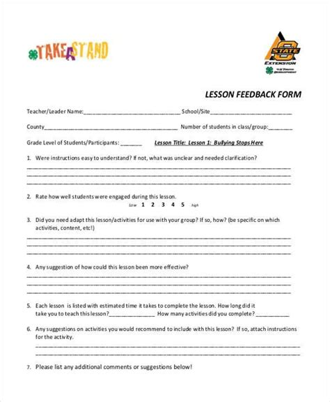 lesson plan feedback template sle lesson feedback forms 8 free documents in word pdf