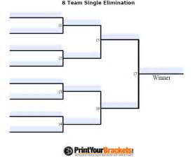 Tournament brackets template 8 teams fillable 8 team tourney bracket