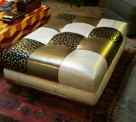 leather patchwork ottoman coffee table by frayedknotinc