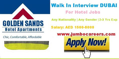 Mba In Dubai With Salary by Walk In For Golden Sands Apartment Hotel