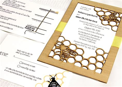 honey bee garden wedding invitation and response card made from wood and paper sle listing