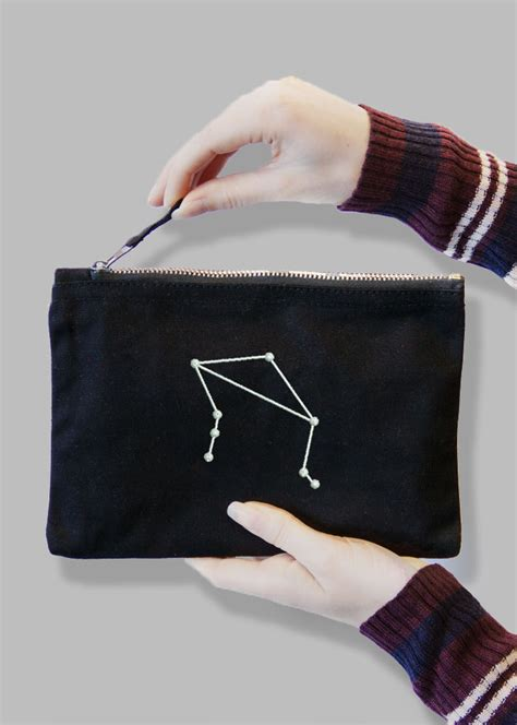 Co F58285 File Bag Signblack constellation embroidered black bag with 12 zodiac signs withcongratulations