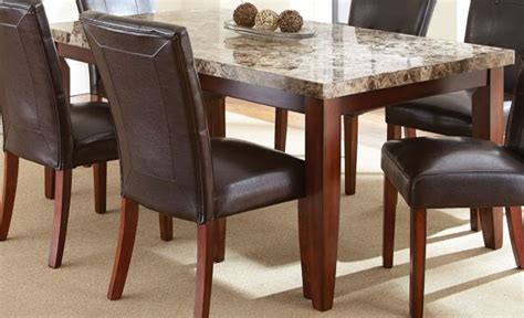 Montibello Spanish Brown Rectangular Marble Top Dining Marble Top Rectangular Dining Table