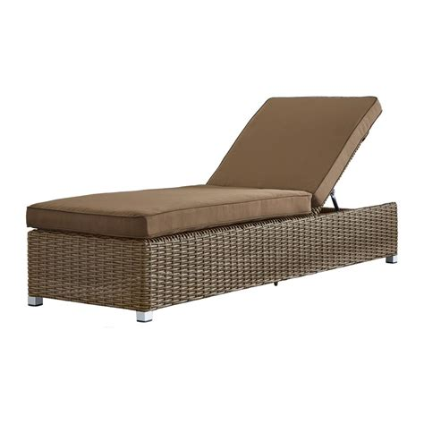 Chaise Lounge Chair Cushion by Homesullivan Camari Mocha Wicker Adjustable Outdoor Chaise