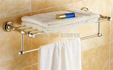 gold bathroom shelf home improvement luxury gold color brass wall mounted
