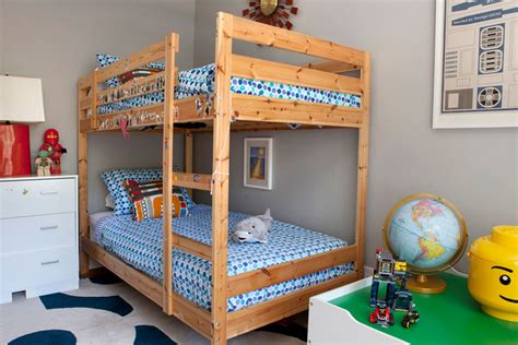 Bunk Bed Nightstand Room With Navy Bunk Beds Transitional Boy S Room