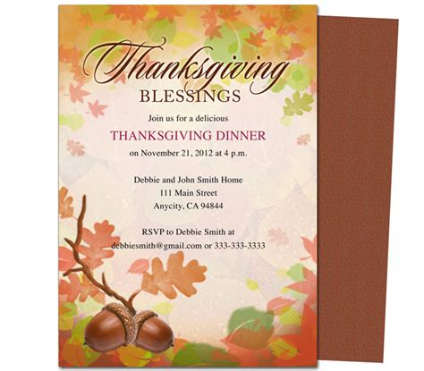 thanksgiving invitation card template 8 best images of free printable thanksgiving templates