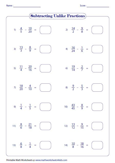 Subtracting Unlike Fractions Worksheets by Subtracting Fractions Worksheets