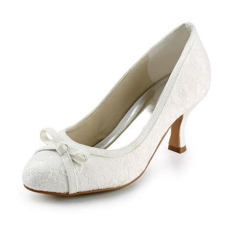 Wedding Shoes Pumps by S Satin Spool Heel Closed Toe Pumps Ivory Wedding