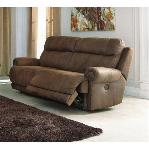 2 Seat Leather Reclining Sofa Austere 2 Seat Faux Leather Power Reclining Sofa In Brown 3840047