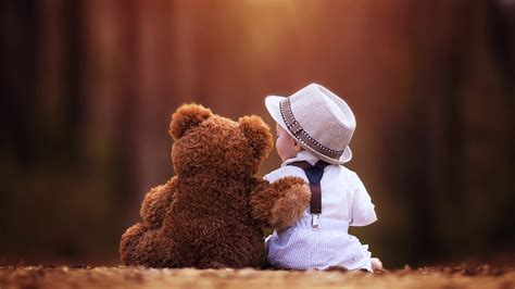 wallpaper girl and boy download teddy bear and little boy hd wallpaper download