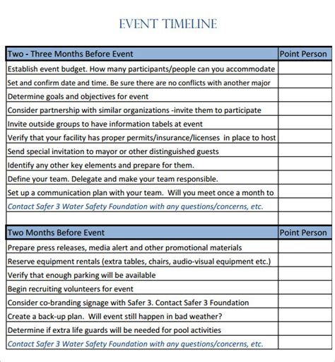 9 Event Timeline Templates Free Sle Exle Format Download Free Premium Templates Free Event Timeline Template