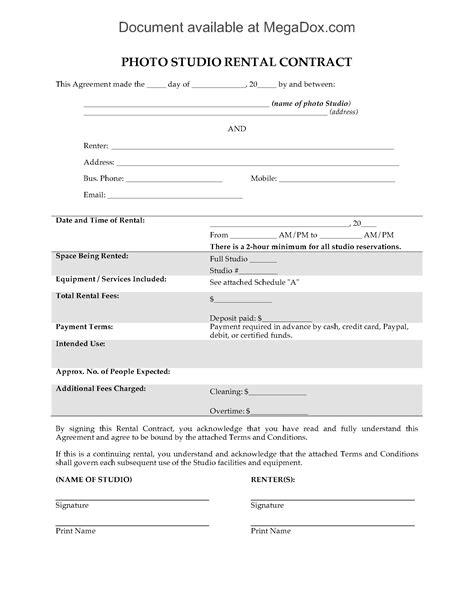 Studio Rental Agreement Template Photo Studio Rental Contract Legal Forms And Business Templates Megadox Com