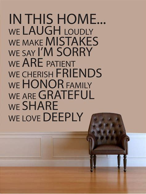 sayings for wall decor wall quotes in this home vinyl wall quote by