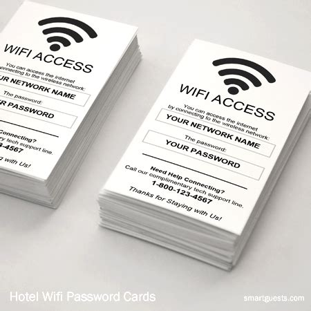 wifi password courtesy card templates access cards