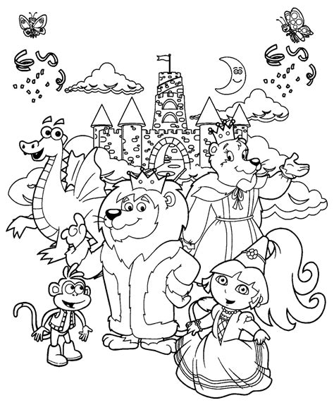 Dora The Explorer Coloring Pages Dora And Friends Princess The Explorer Coloring Pages