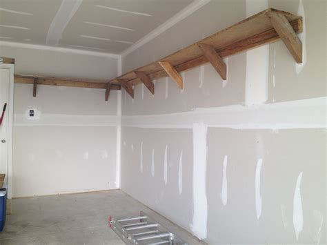 Diy garage shelving plans with simple wooden garage shelving bracket ideas popular home