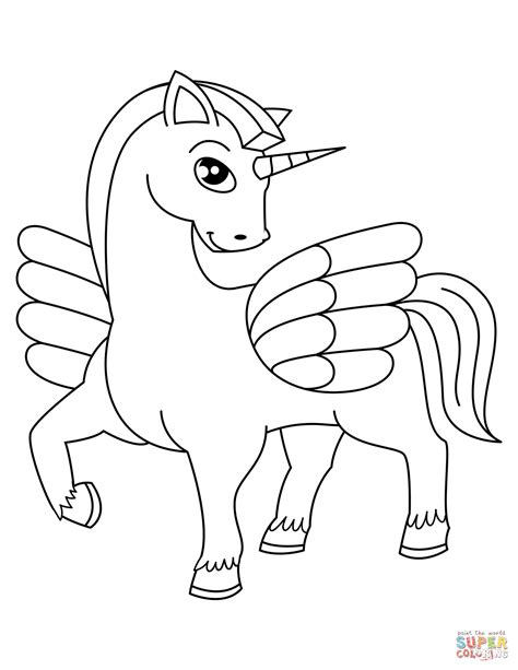 unicorn coloring winged unicorn coloring page free printable