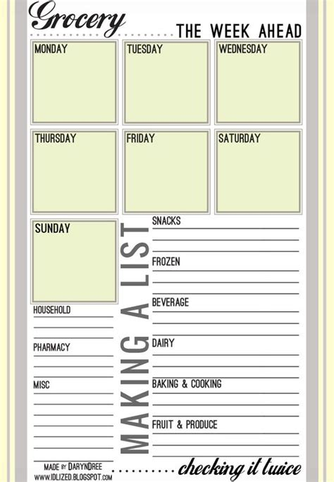 free printable grocery list organizer grocery lists meal planner and planners on pinterest