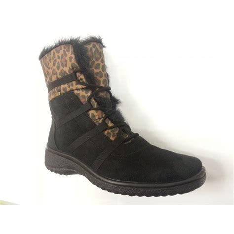 tex boots ara 48523 05 black with animal print waterproof tex