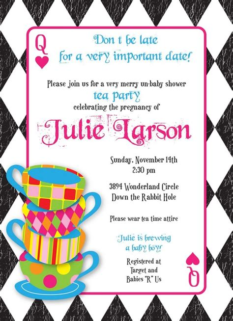 mad hatter tea invitations templates mad hatter tea custom baby shower invitation