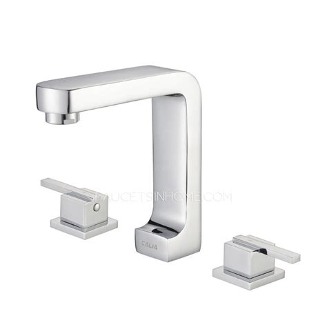 square bathroom faucets contemporary three split hole square shaped pullout