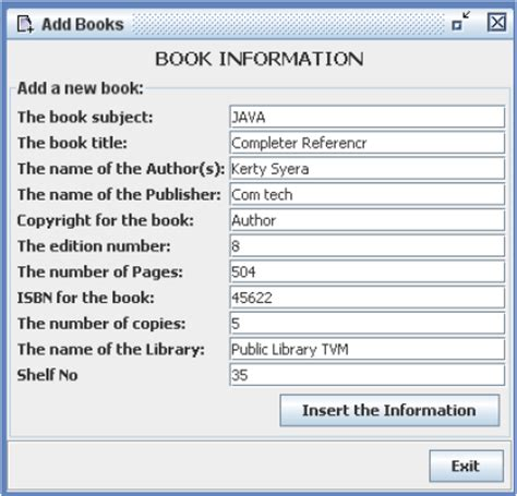 pages book info library management system java project code with c