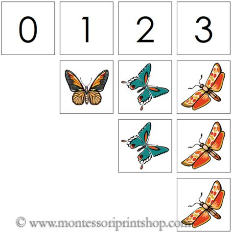 printable montessori number cards 0 to 10 numbers counters butterflies printable