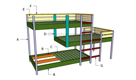 triple bunk bed plans free building a triple bunk bed diy woodworking projects