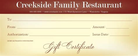 Restaurant Gift Card Template Free by Restaurant Gift Certificate Template