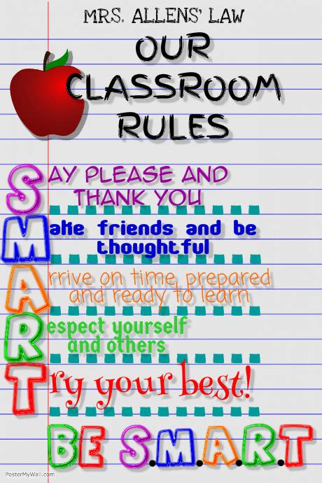 printable school rules poster classroom rules template postermywall