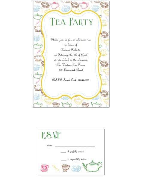 12 Printable Afternoon Tea Invitation Templates Download Afternoon Tea Menu Template