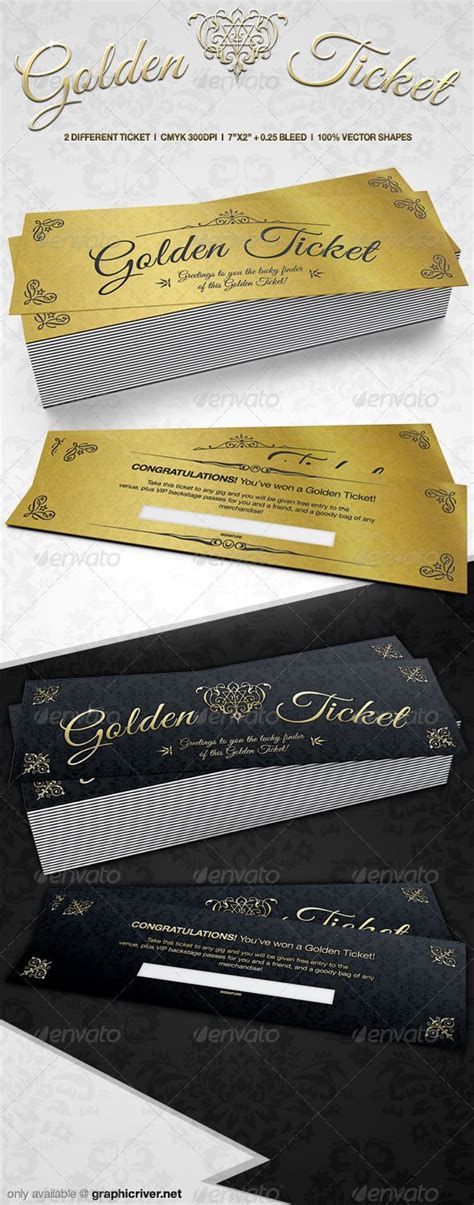ticket cards template golden tickets golden ticket cards and templates