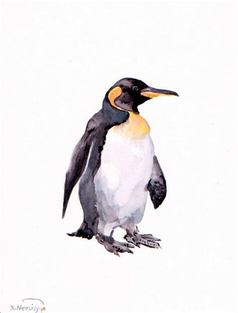 painting penguin penguin original watercolor painting 12 x 9 in animal