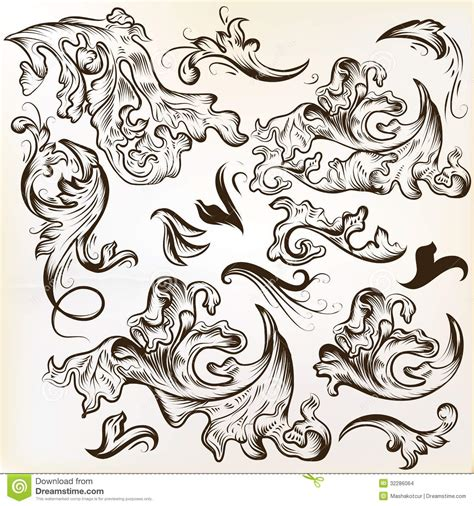 ornament design elements vector set vector set of hand drawn swirl ornaments for vintage