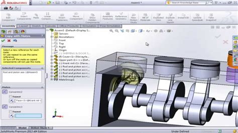 tutorial solidworks motion solidworks motion study tutorials crankshaft and piston