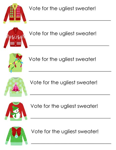 printable ugly christmas sweater awards ugly sweater party free printables free printable party