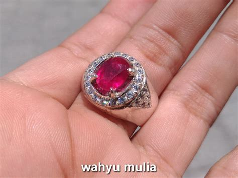 batu cincin permata ruby merah delima asli kode 735