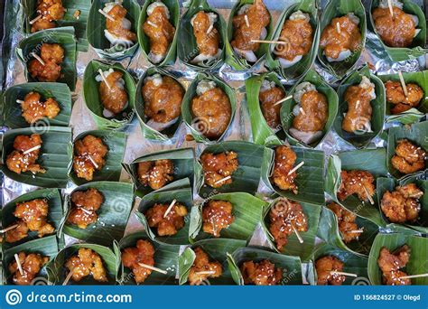 traditional indonesian snack  green palm leaves close