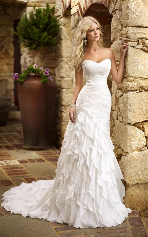 50 gorgeous wedding dresses with train ruffles wedding
