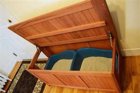 cat litter storage bench diy hidden litter boxes cut two holes in a teak storage