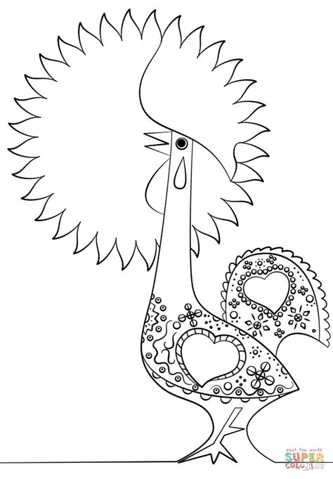 Portuguese Rooster Coloring Page | portuguese rooster coloring page free printable coloring