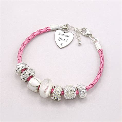 friendship bracelet with charm engraving jewels