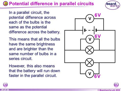 parallel circuits potential difference ks4 physics electric circuits ppt