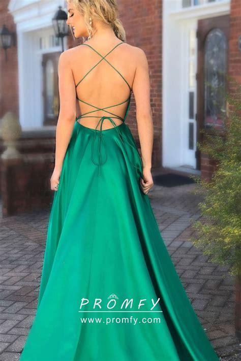 green satin   open  side slit spaghetti straps